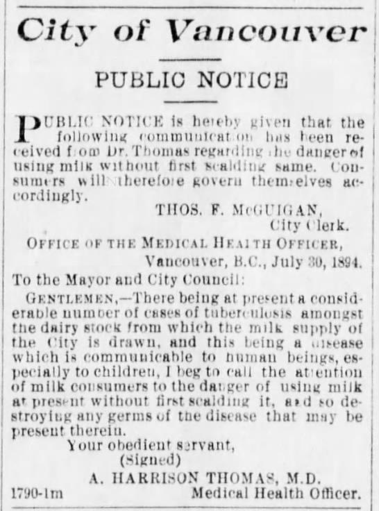 City of Vancouver August 1894 Public Notice to Scald Milk
