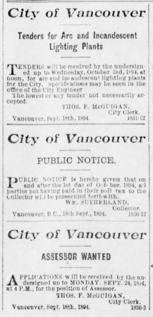 New City Assessor Appointed – September 24, 1894