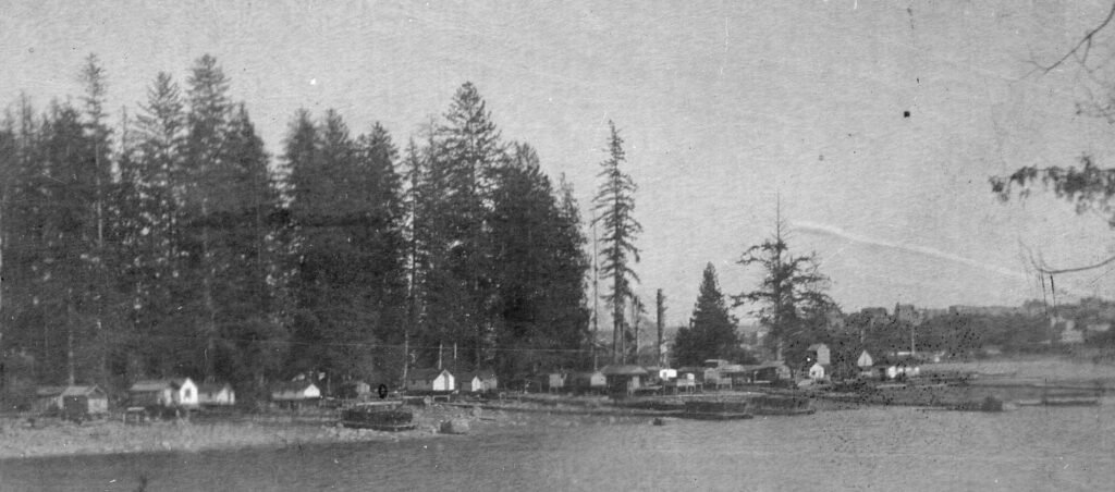 view of squatter's shacks on the shore of Deadman's Island, 1898