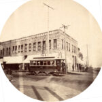 vancouver electric railway car 1891 turning north onto carrall Street from Cordova St.
