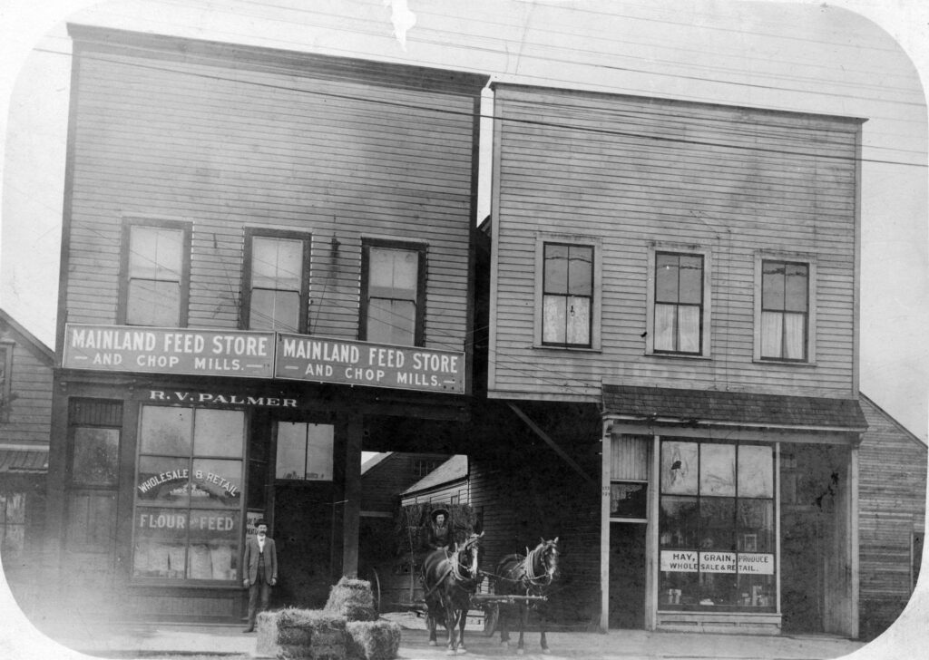 Exterior of Mainland Feed Store 929 Westminster Ave., 1896
