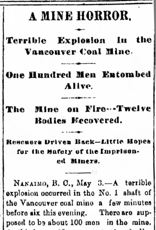 Vancouver sends $500 to the Nanaimo Relief Fund after mine explosion – May 9, 1887