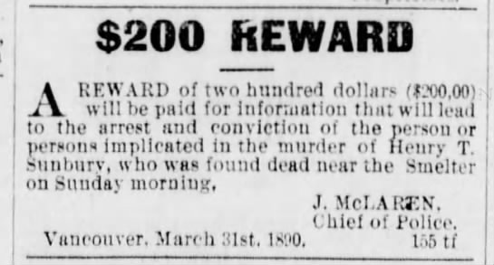 Morley gets $200 reward for info on Sunbury murder – August 25, 1890