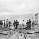 workers laying street railway tracks Vancouver 1893
