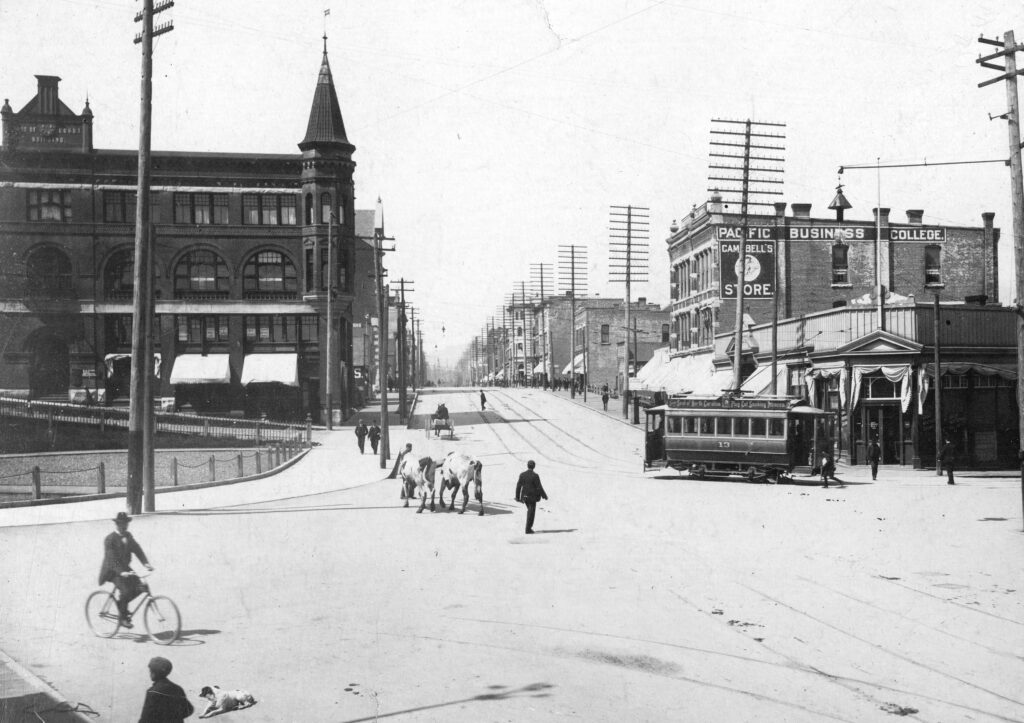 Looking wet on Hastings Street from Cambie Street, 1896